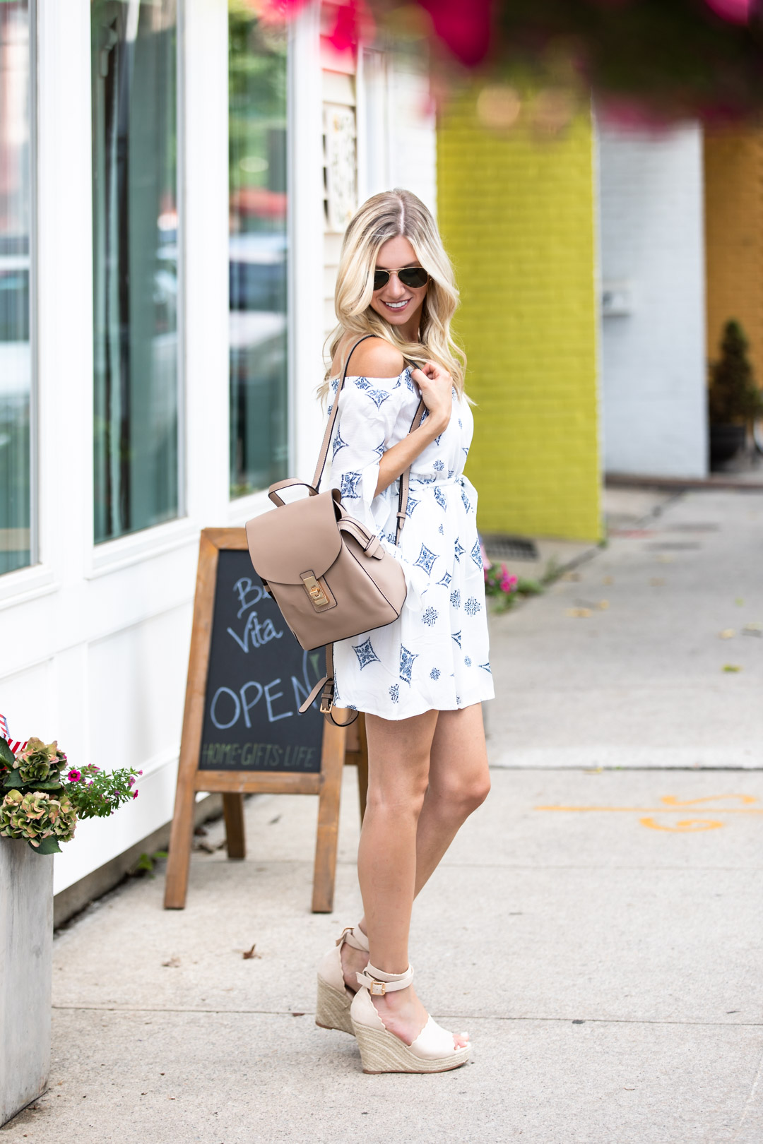 VICIDolls Blue and White owy Dress and Leather Backpack