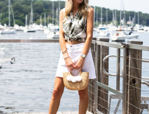 Palm Frond Crop Top and Denim Skirt
