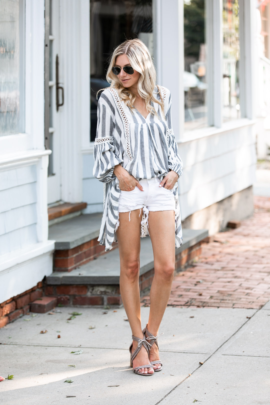 Chicwish Blue and White Striped Tunic
