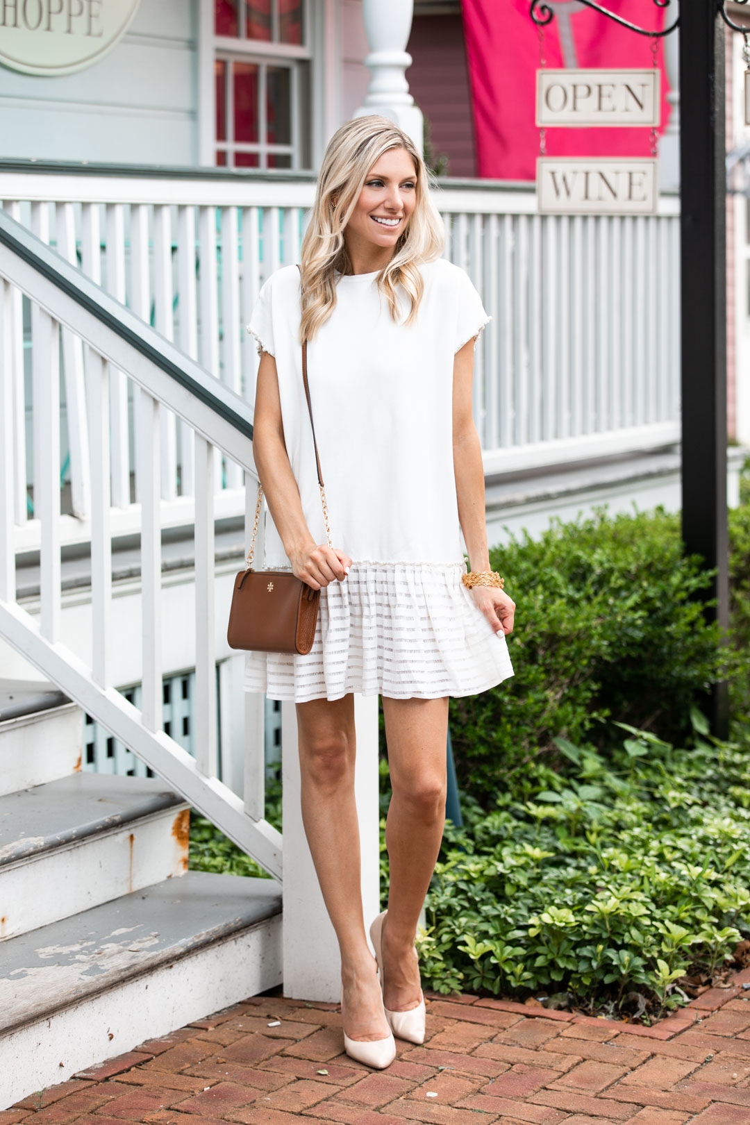 Chicwish White Shift Dress wtih Pearl Embellishments