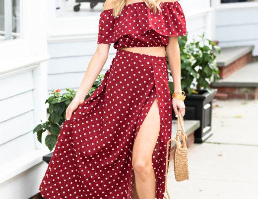 Shein Burgundy Polka Dot Maxi Skirt and Crop Top