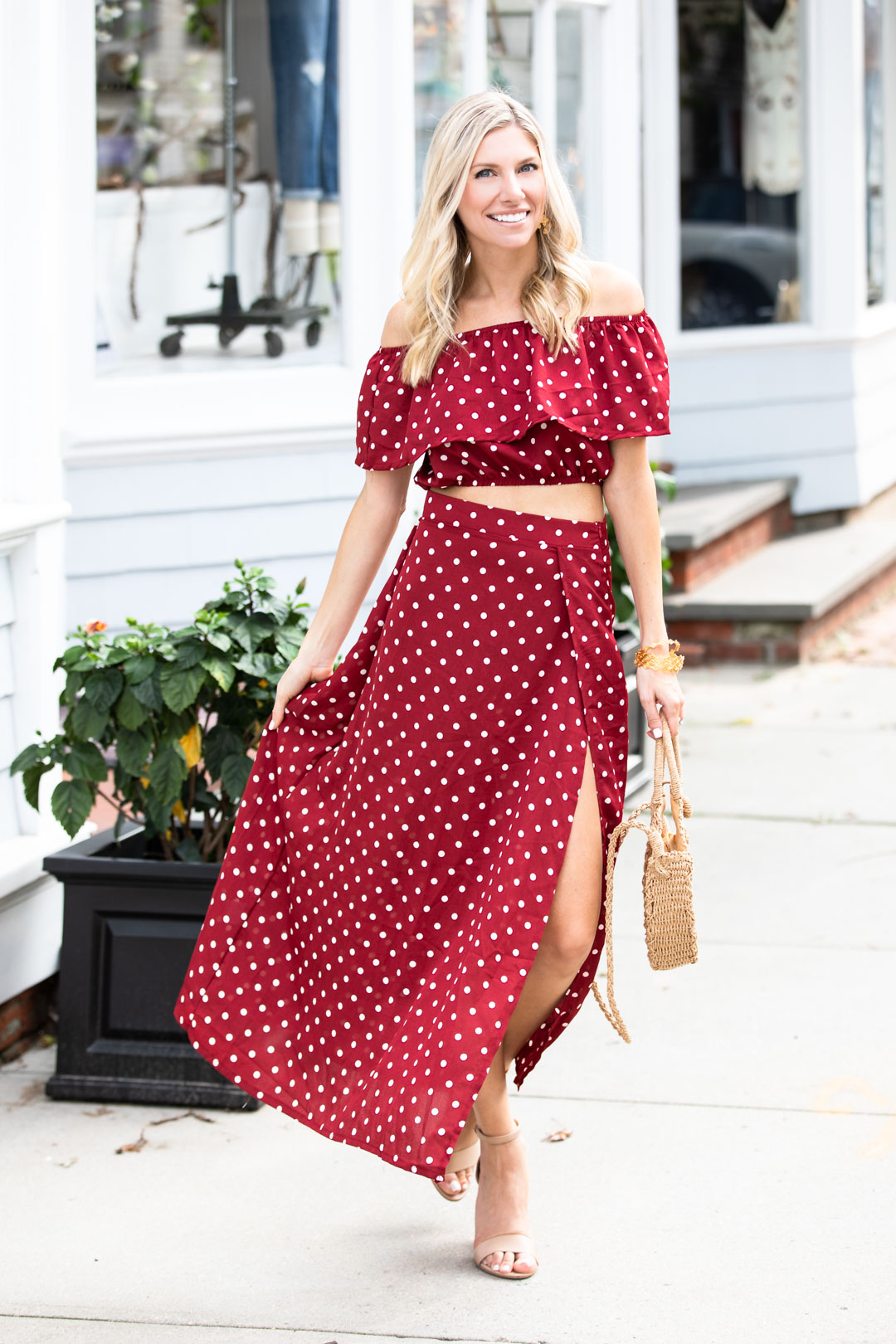 Shein Burgundy Polka Dot Maxi Skirt and Crop Top