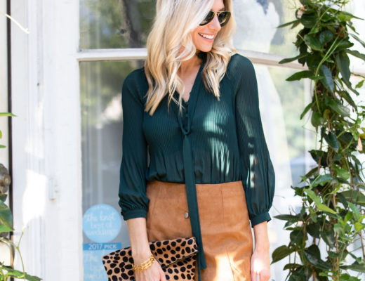 Shein Green Bodysuit and Tan Suede Scalloped Hem Skirt