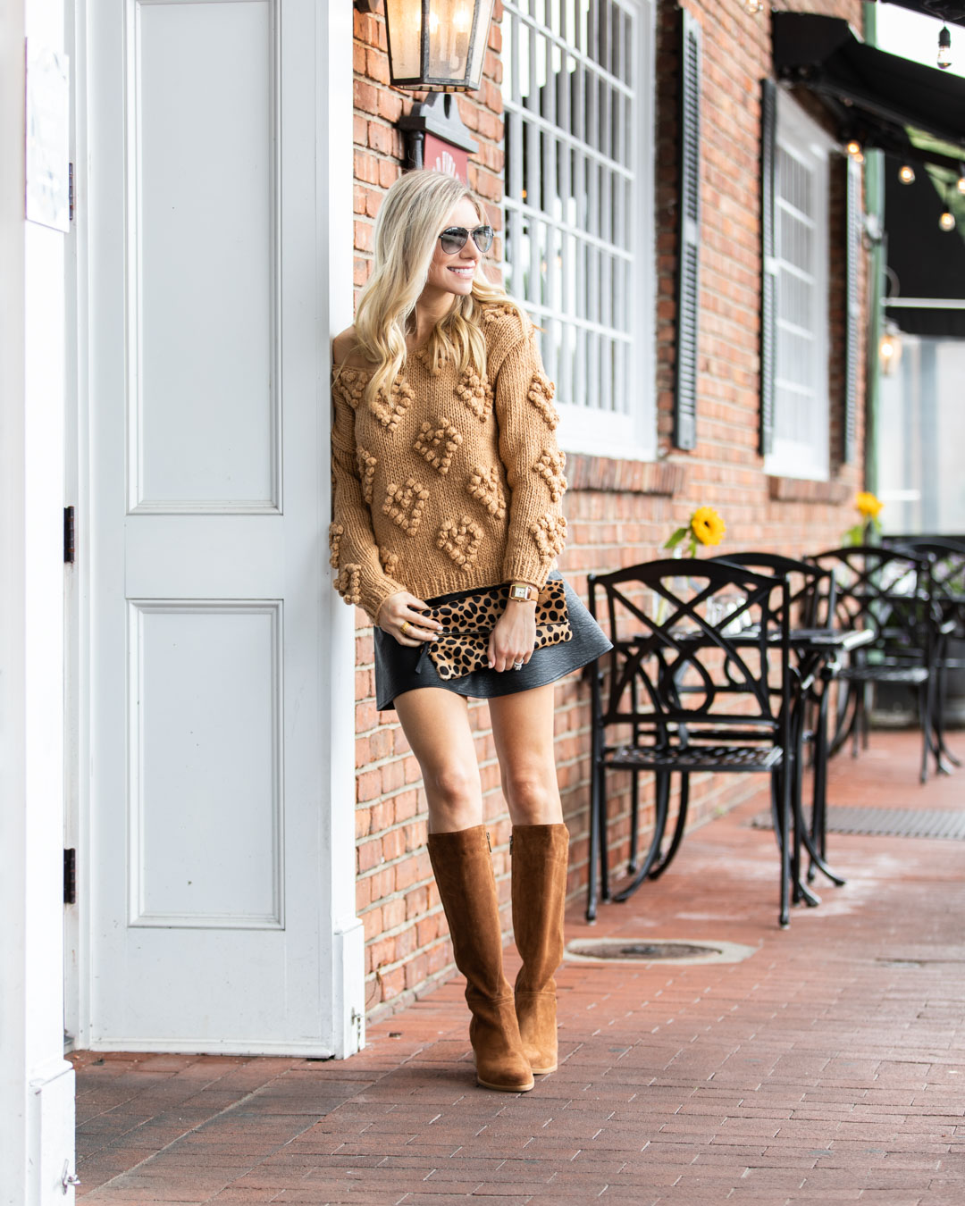 Chicwish Camel Heart Sweater and Leather Skirt