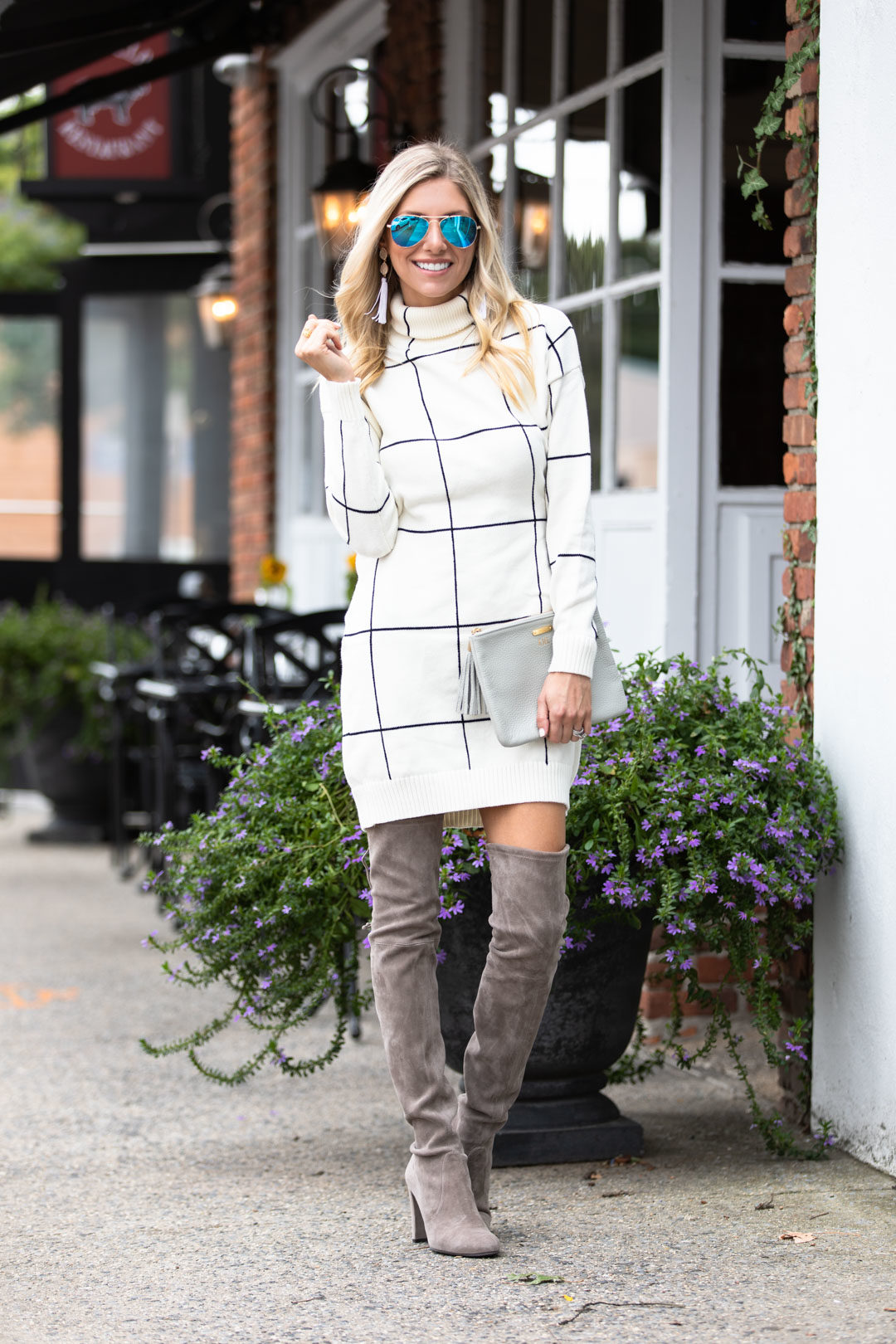 Windowpane Sweater Dress And Over The Knee Boots The Glamorous Gal