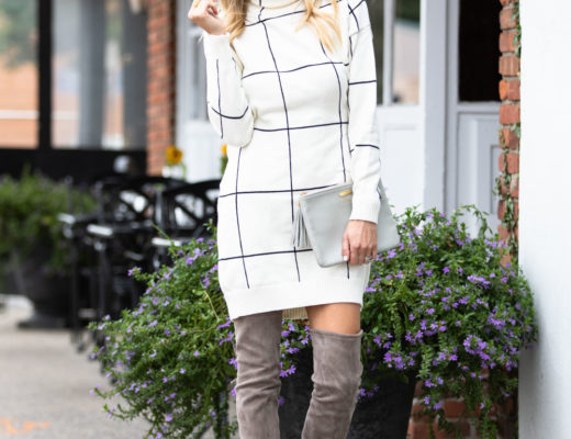 Chicwish Windowpane Sweater Dress and Over the Knee Boots