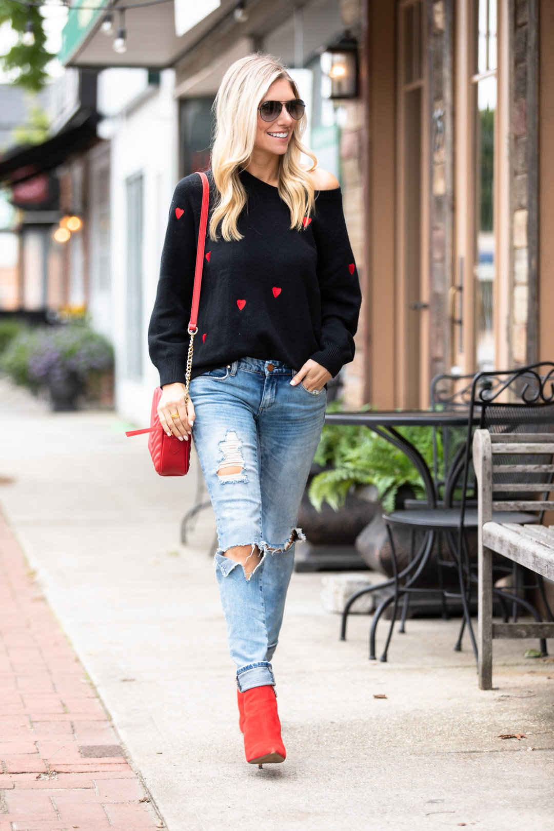 Chicwish Black and Red Heart Sweater