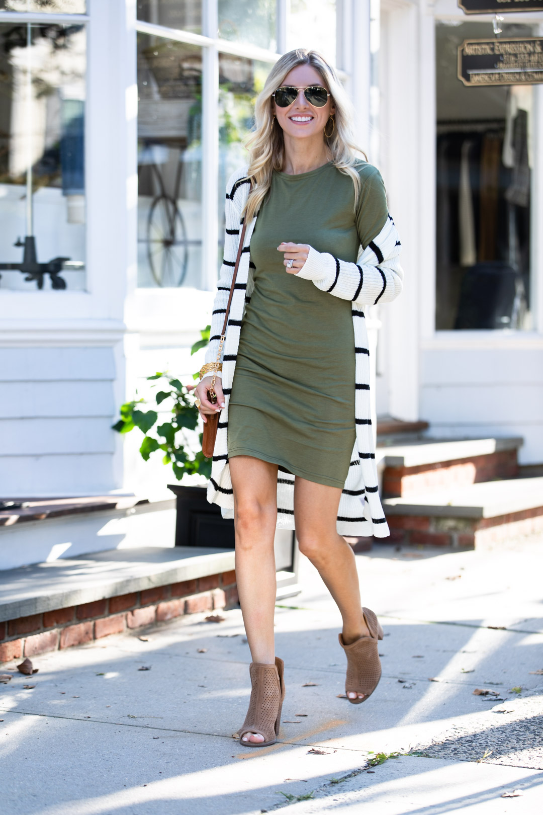 Pink Lily Boutique Dress and Striped Cardigan