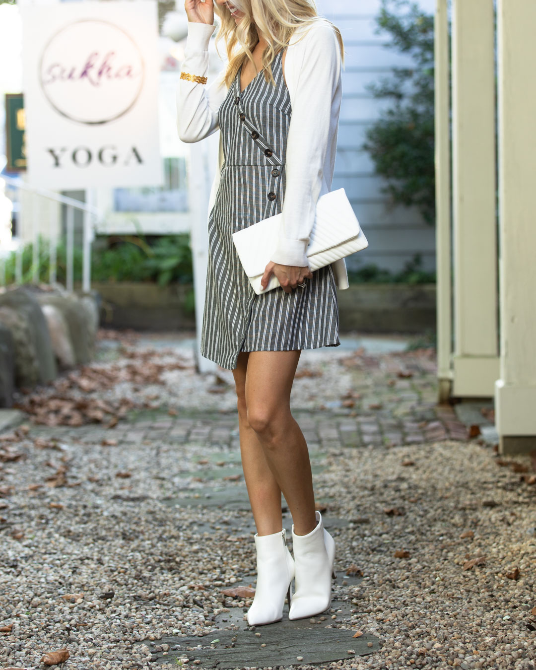 Shein Striped Wrap Dress and White Booties