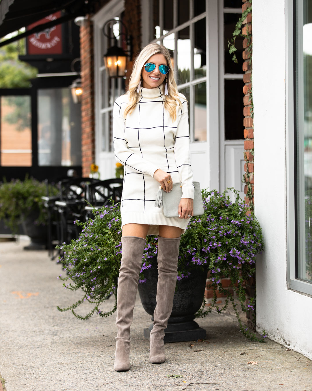 38eee94a008 Check out the details of this Windowpane Sweater Dress and Over the Knee  Boots below!
