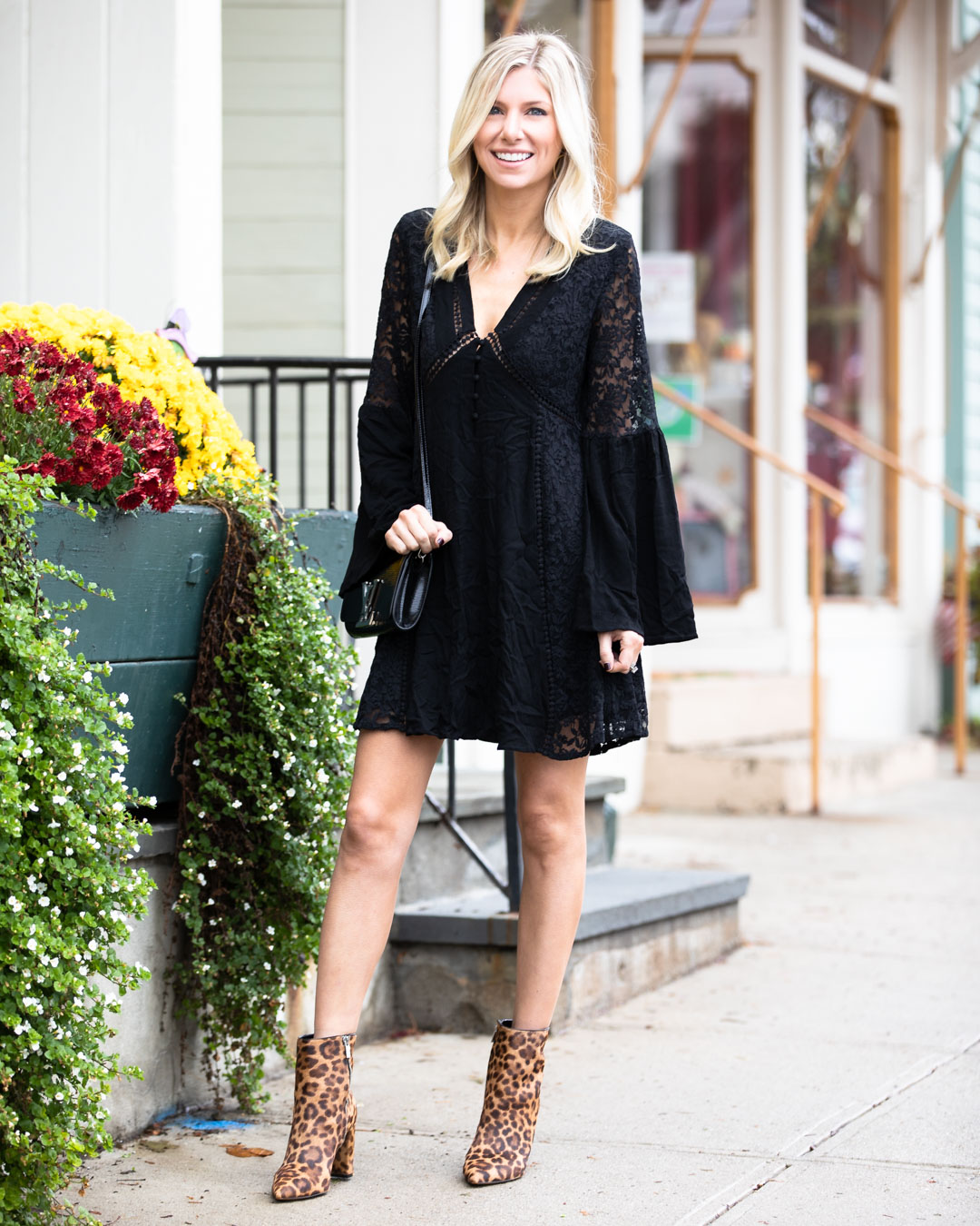 Pink Lily Boutique Lace Dress & Leopard Booties