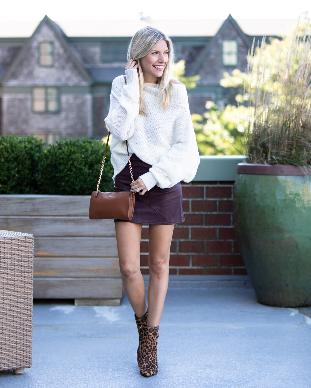Goodnight Macaroon Leather Skirt & Slouchy Sweater