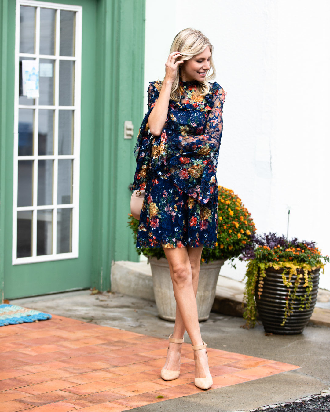 Shein Floral Mesh Dress & Neutral Details