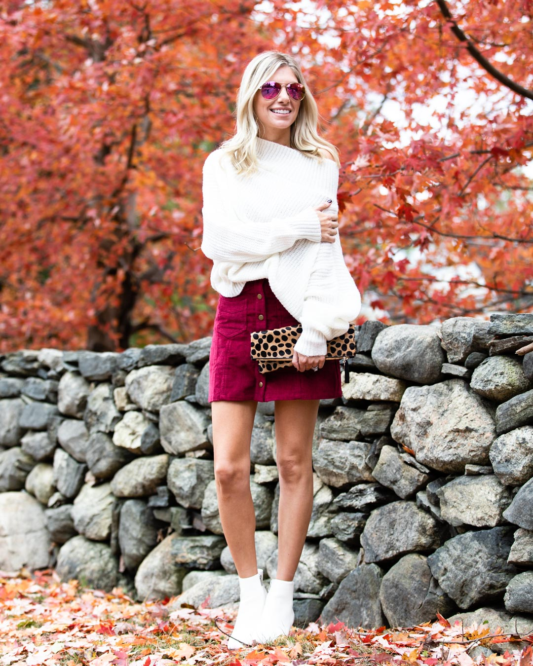 Pink Lily Boutique Magenta Courderoy Skirt & White Sweater