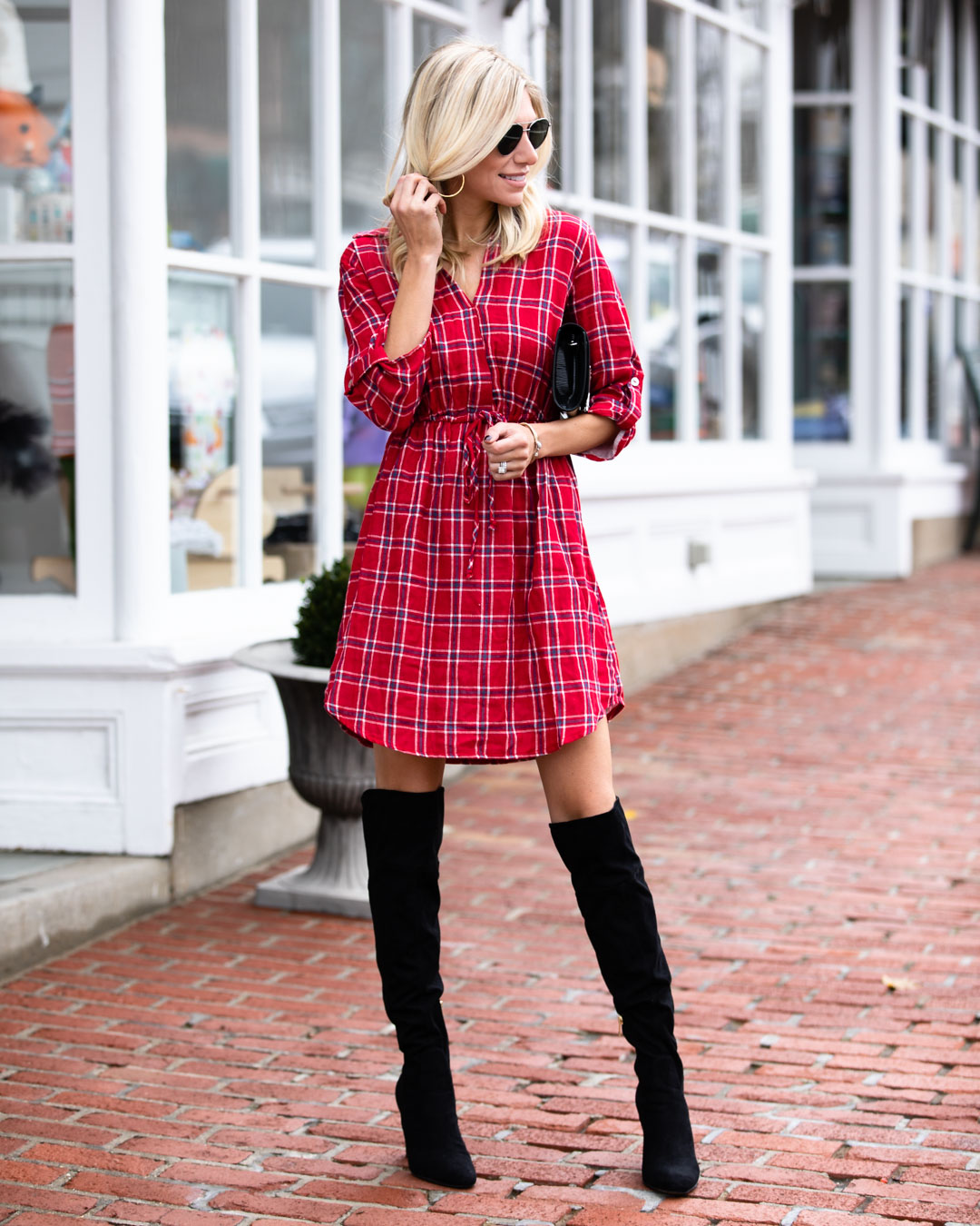 Pink Lily Boutique Red Flannel Dress & Over the Knee Boots
