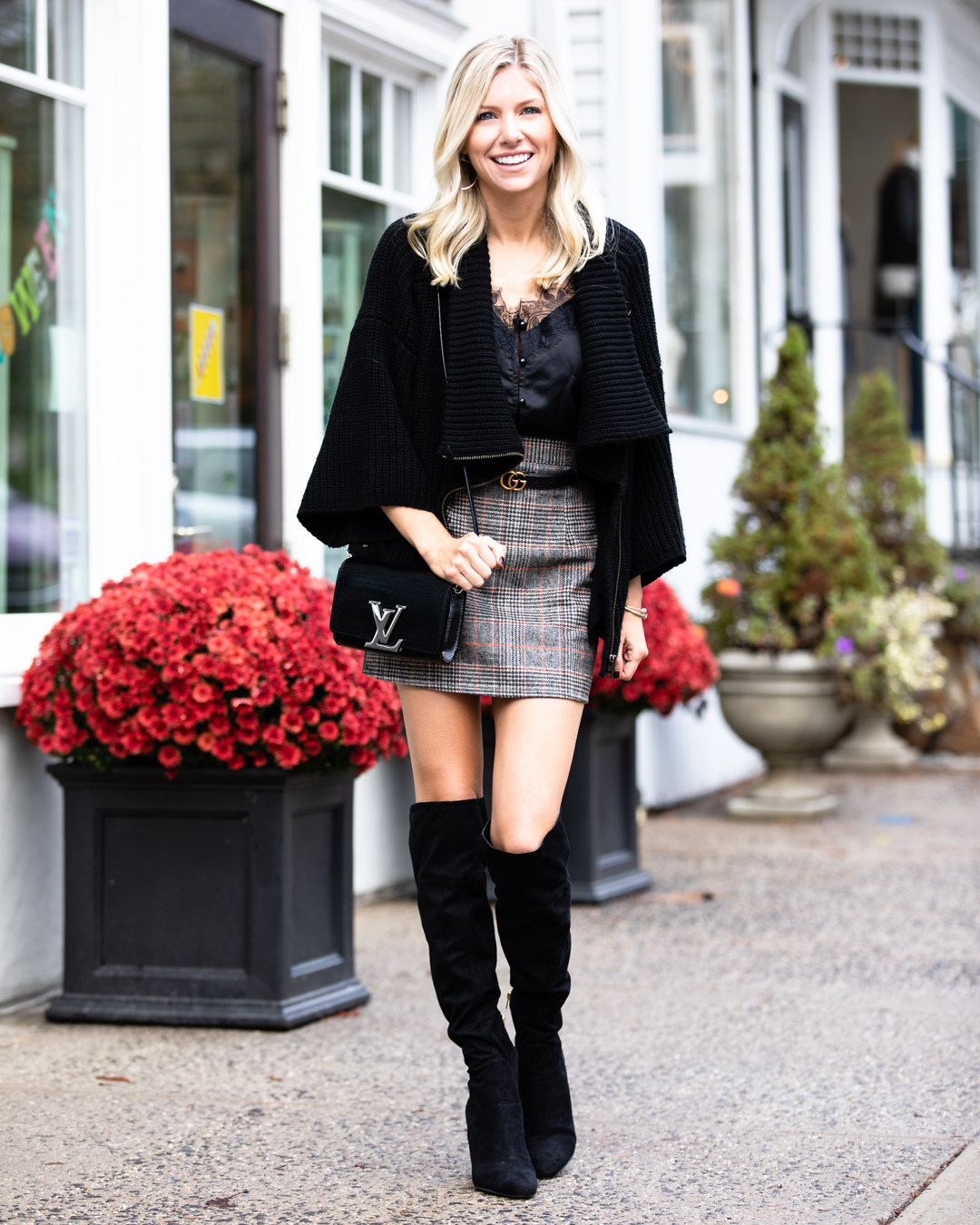 Shein Plaid Skirt & Lace Tank