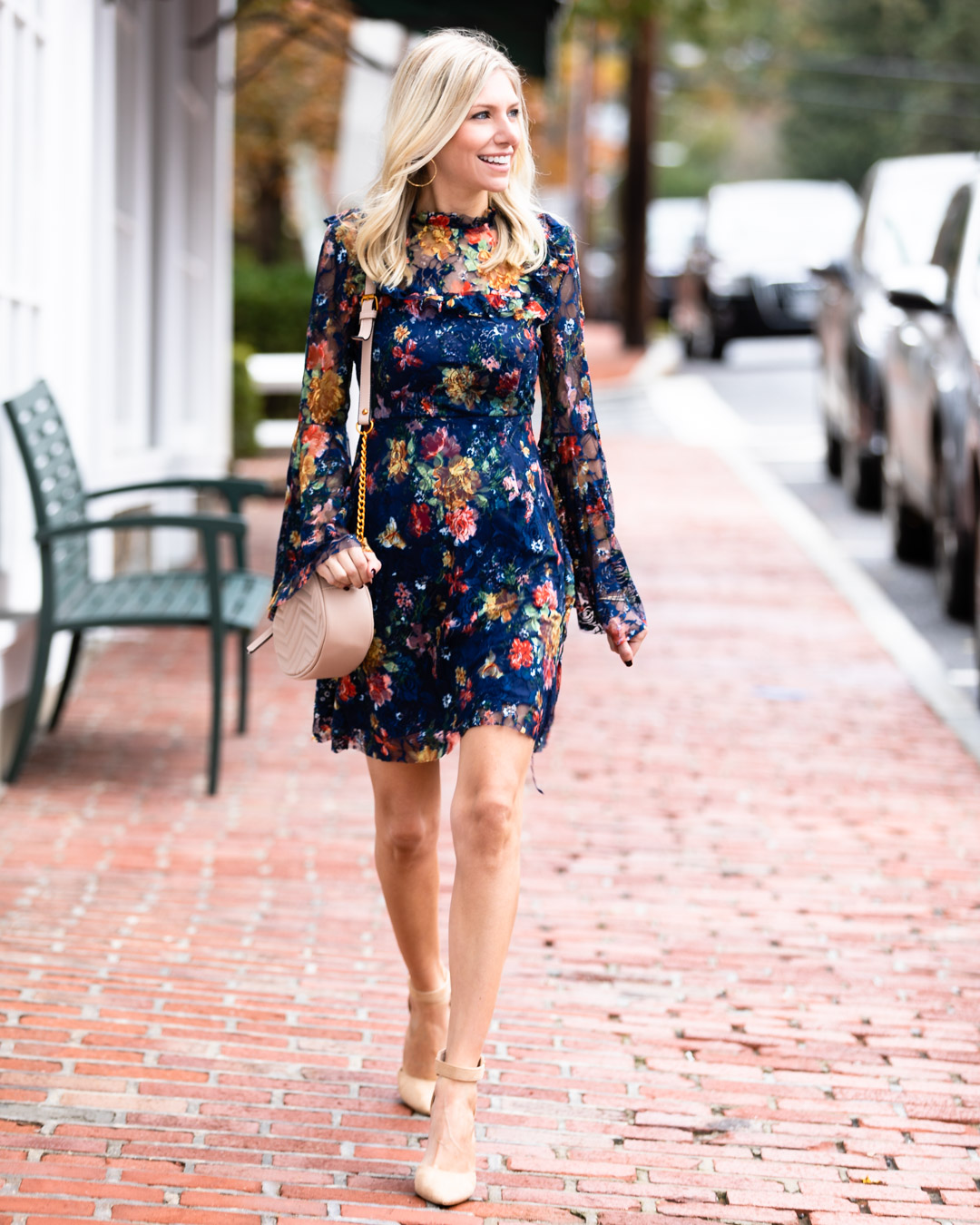 Shein Floral Mesh Dress & Neutral Details