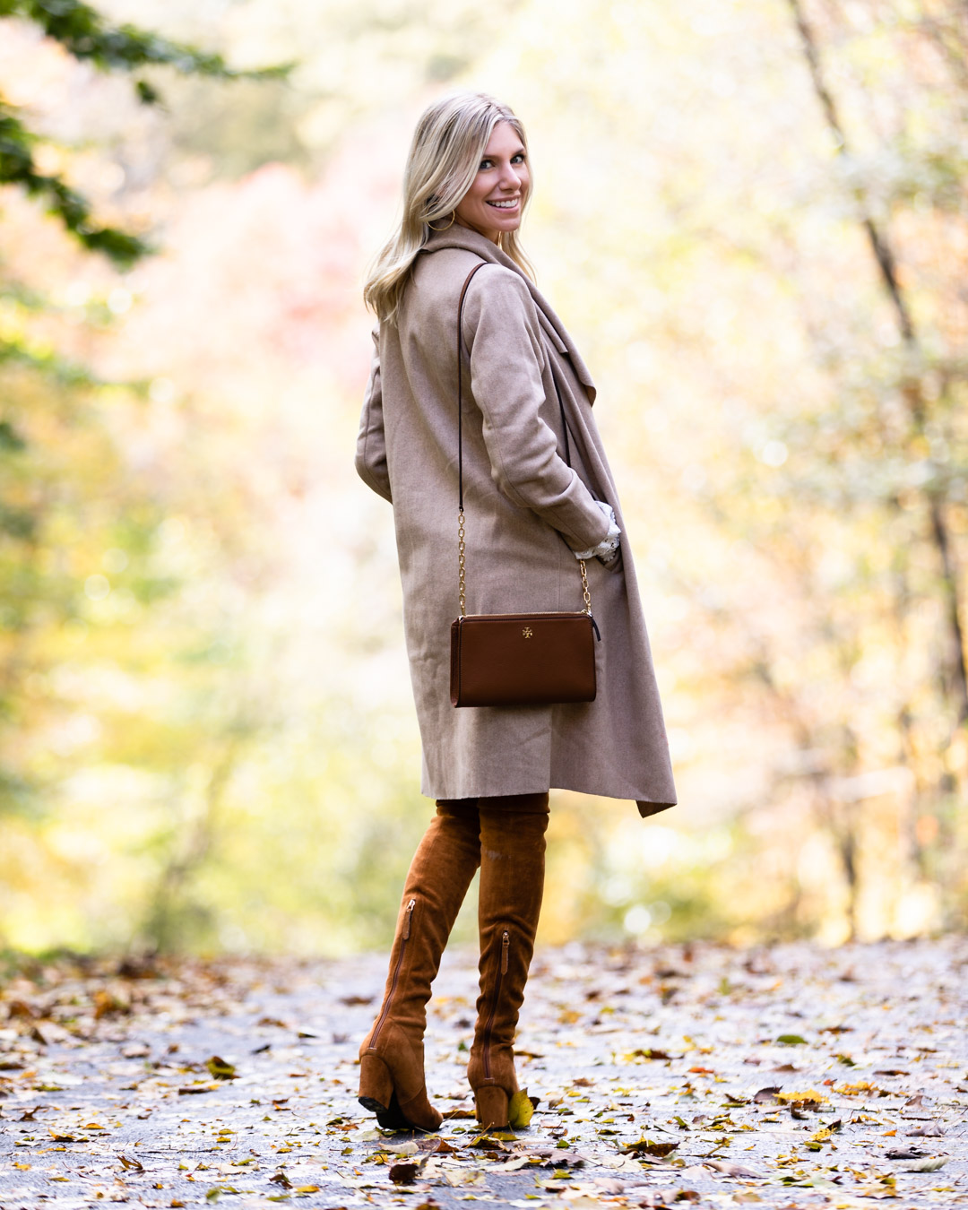 Chicwish Tan Wool Coat & Over the Knee Boots