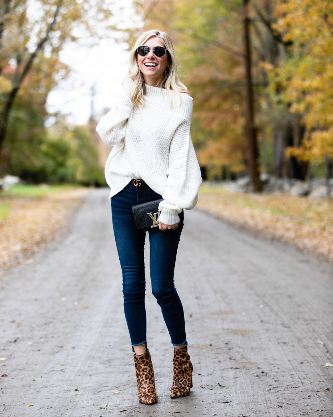 Casual Off the Shoulder Sweater & Leopard Booties