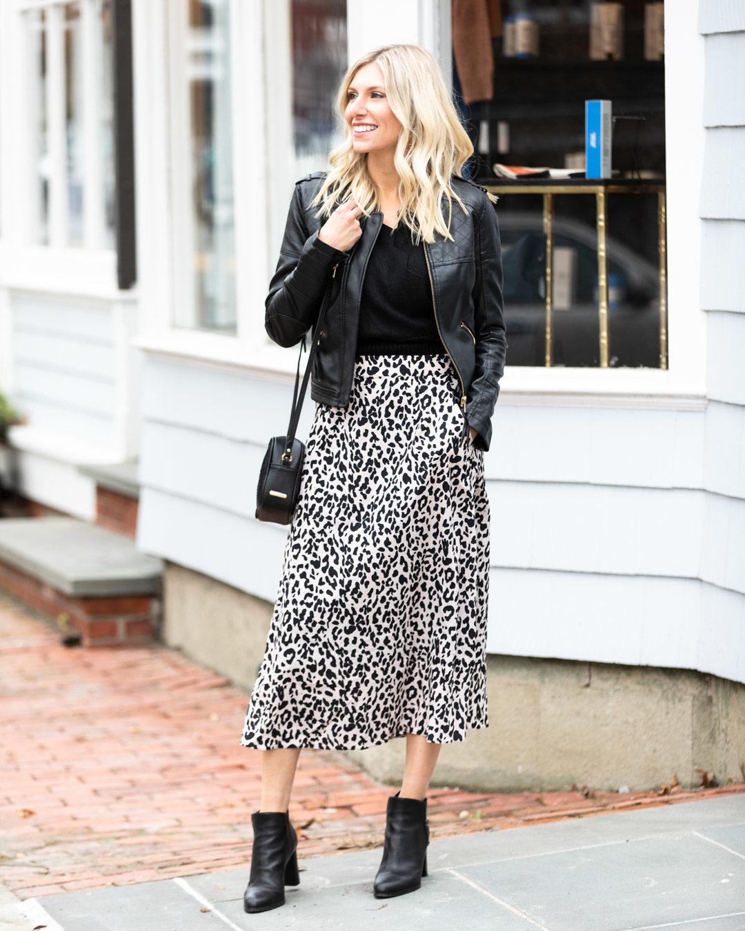 Shein Leopard Midi Skirt