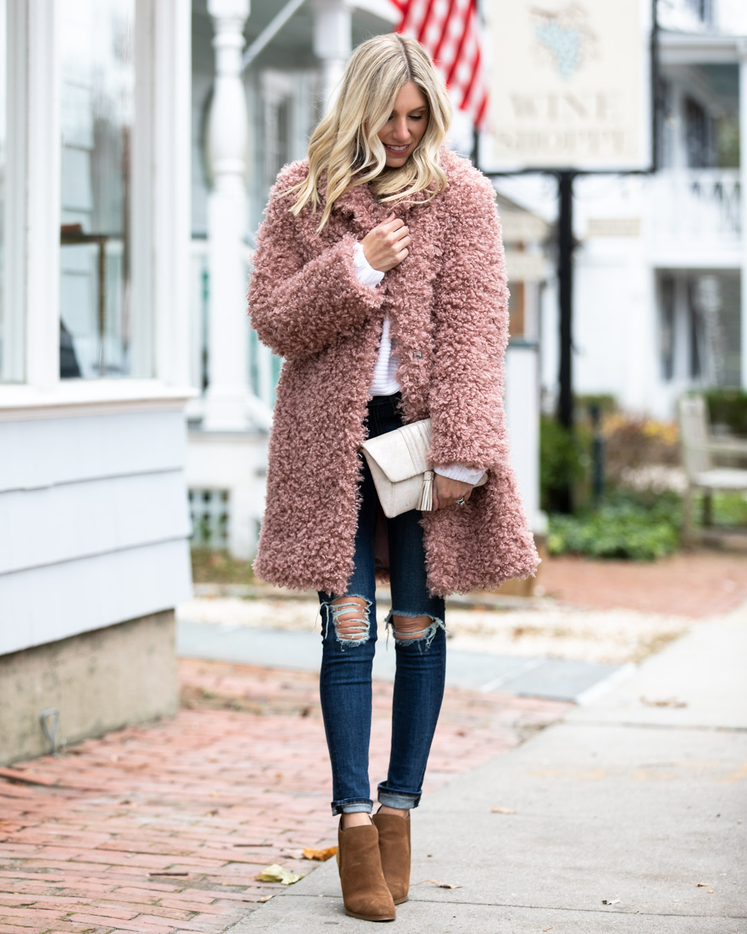 Chicwish Blush Jacket & White Sweater
