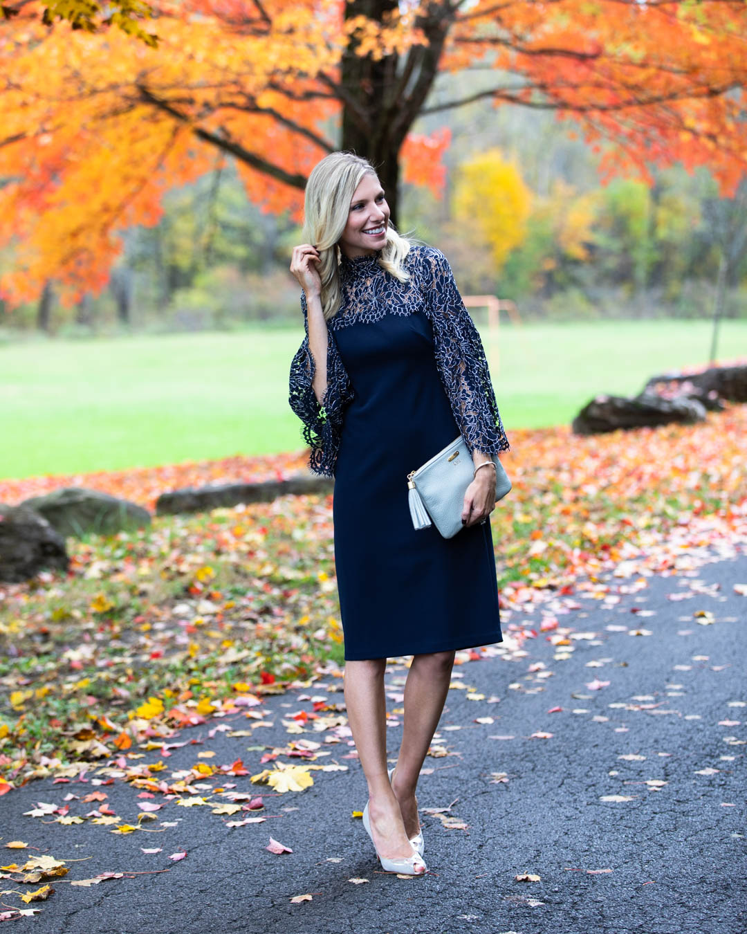 Eliza J Navy Lace Sleeve Dress