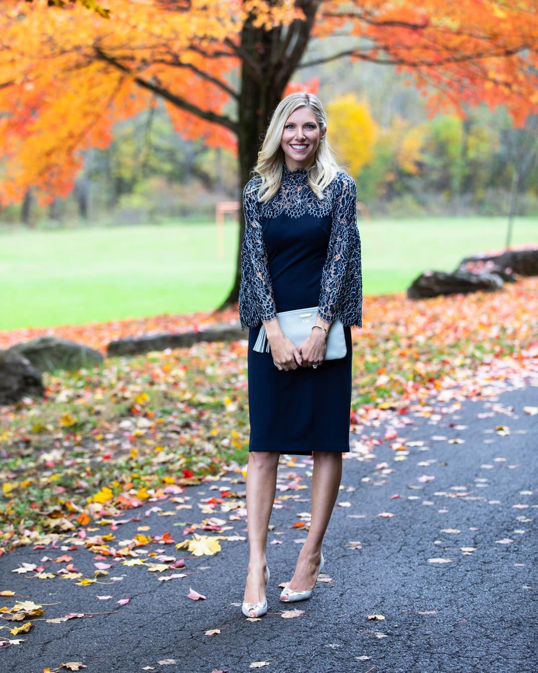 Eliza J Navy Lace Sleeve Dress