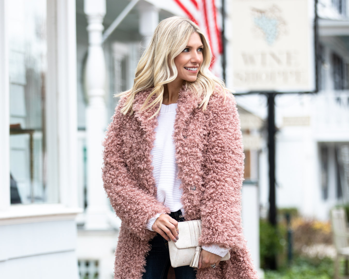 Chicwish Blush Jacket & White Sweater
