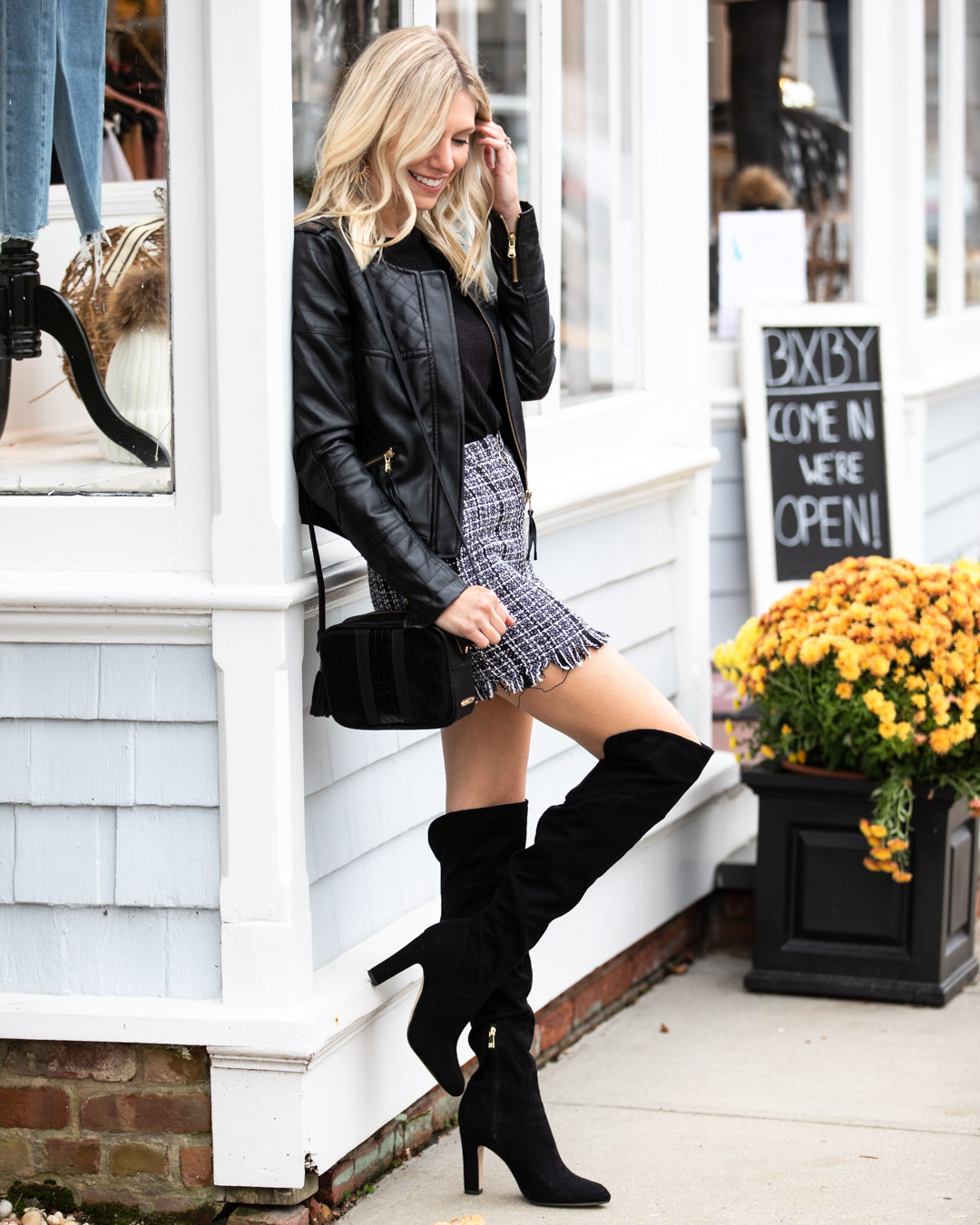 3b525f2887 Tweed Skirt & Over the Knee Boots | The Glamorous Gal