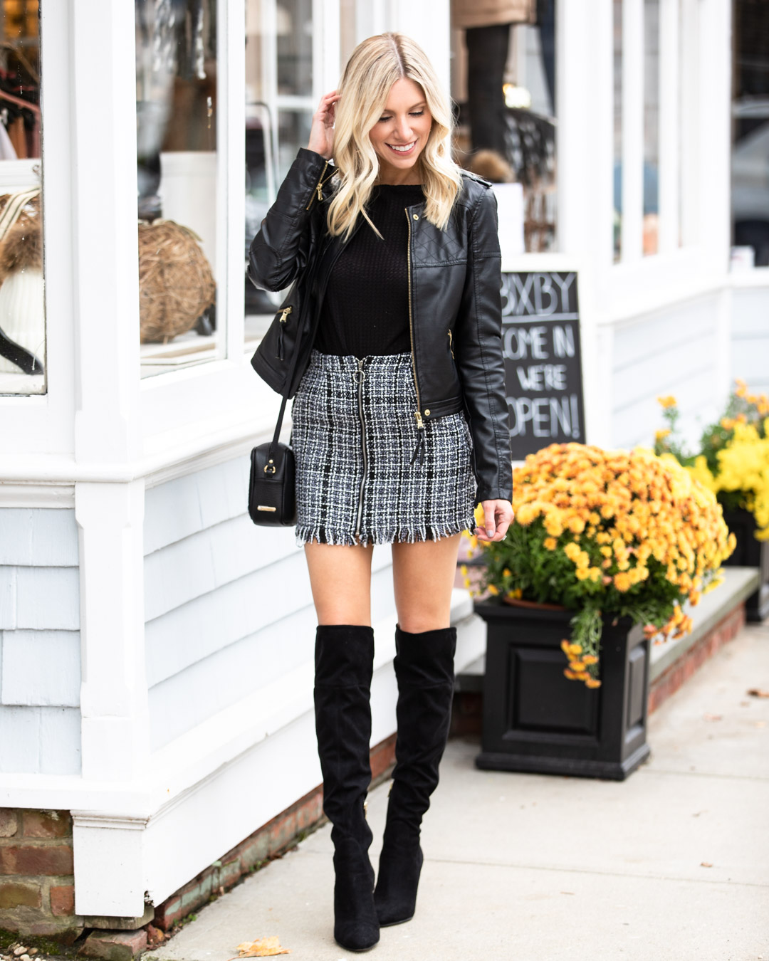 Shein Tweed Skirt & Over the Knee Boots