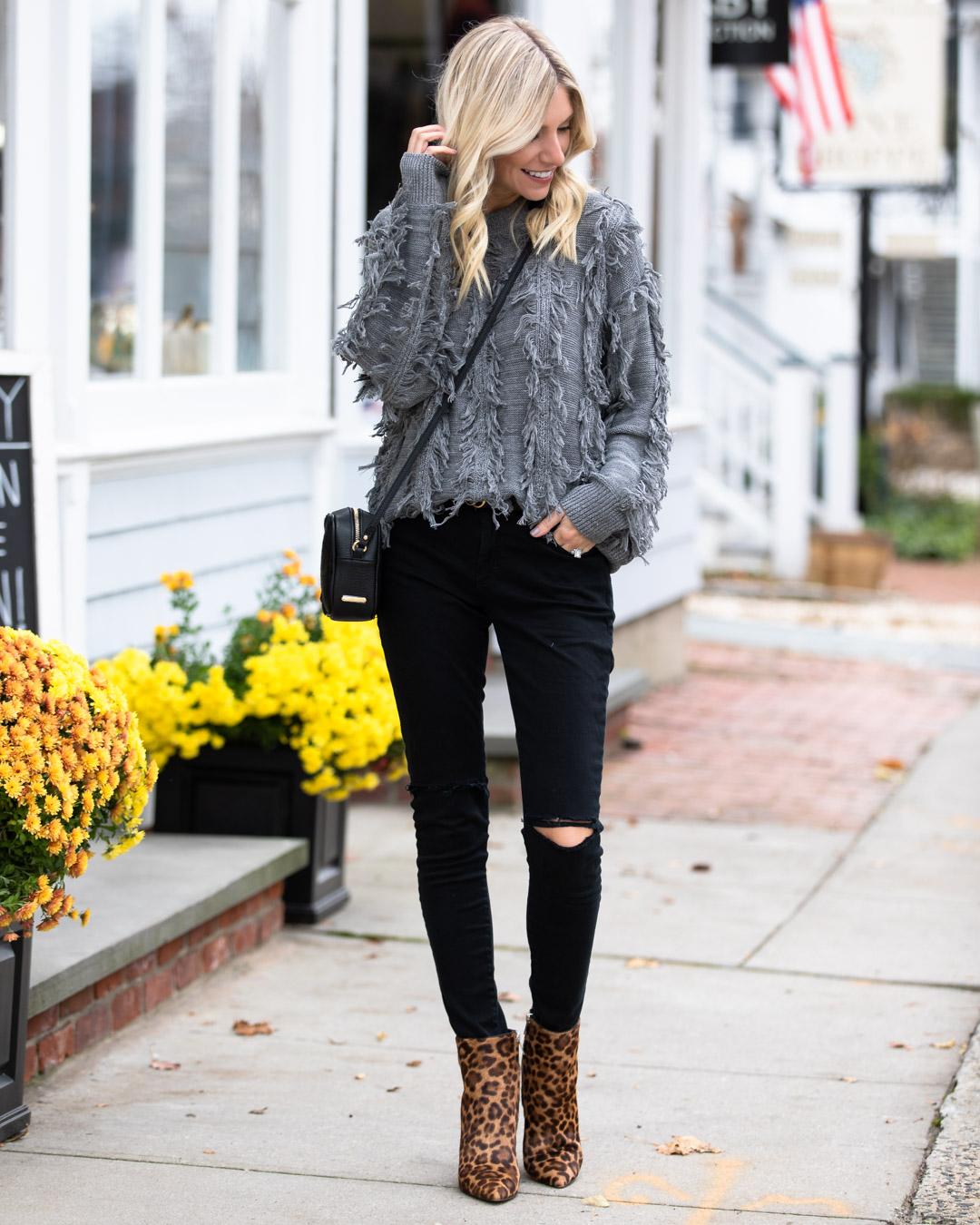 VICI Gray Fringe Sweater