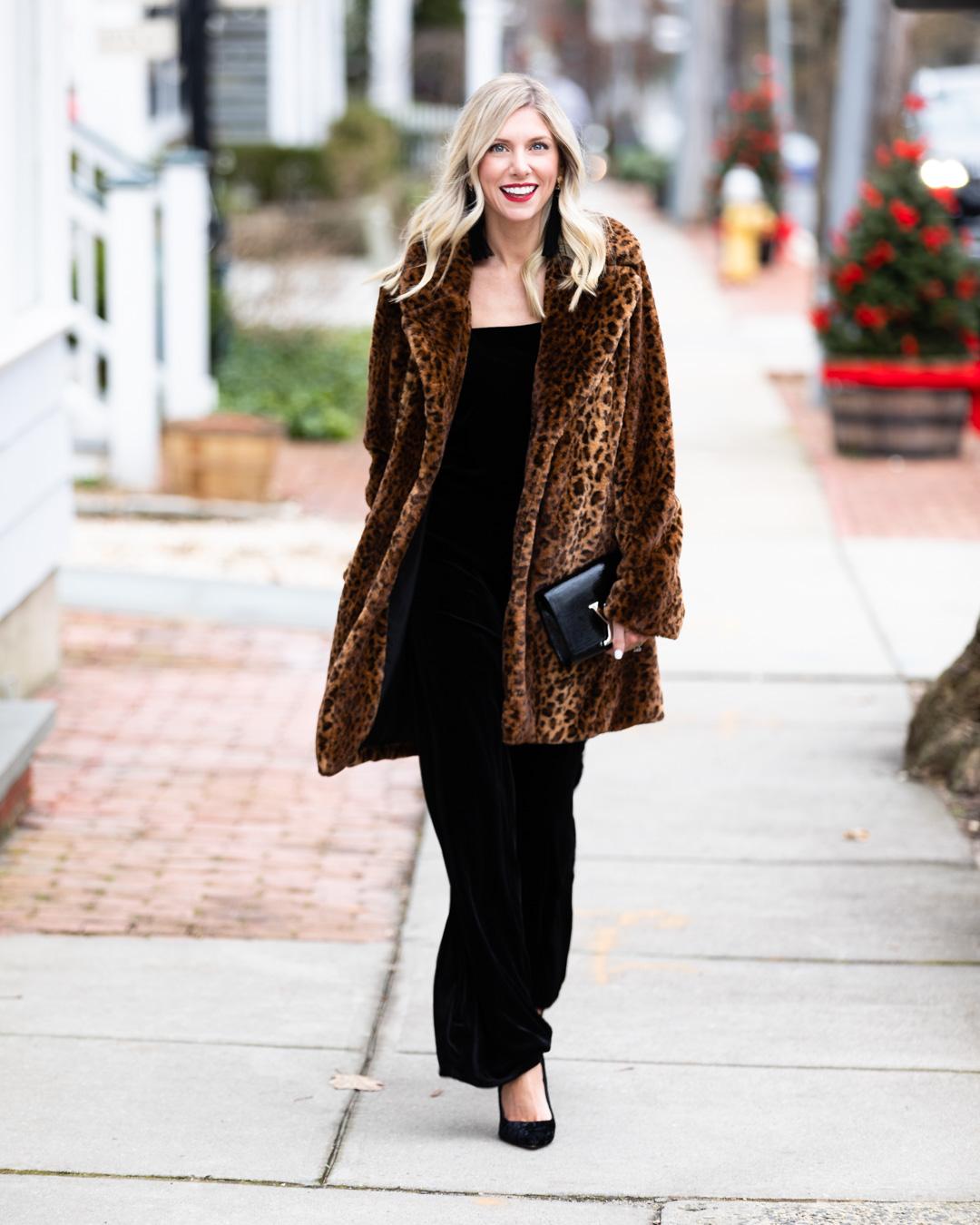 Kensie Velvet Jumpsuit and Leopard Jacket