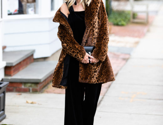 Kensie Velvet Jumpsuit and Leopard Jacket