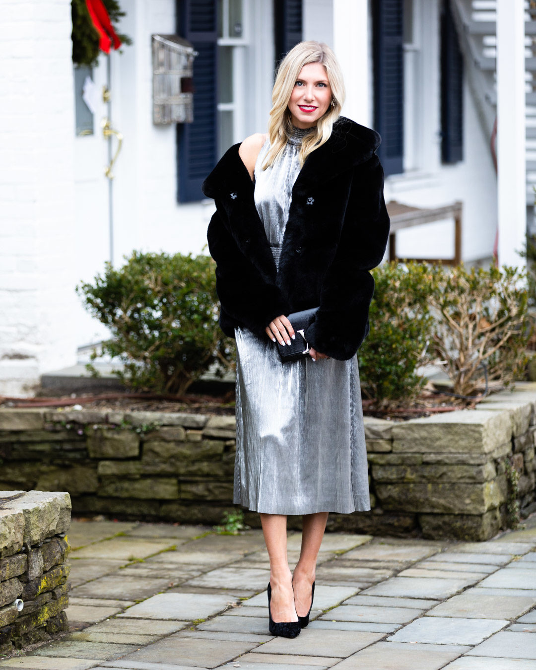 Kensie Silver Dress and Faux Fur Jacket