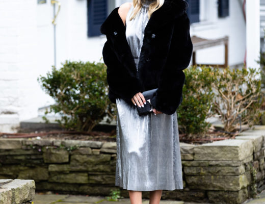Kensie Silver Dress and Faux Fur Jacket
