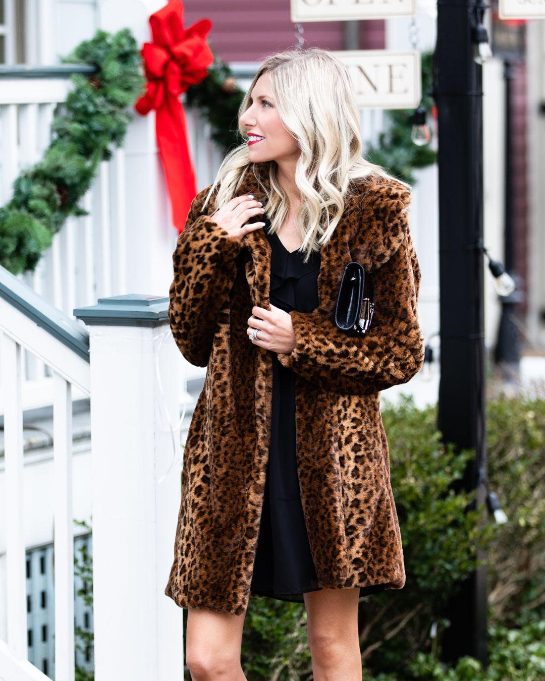 Kensie Black Dress and Leopard Jacket
