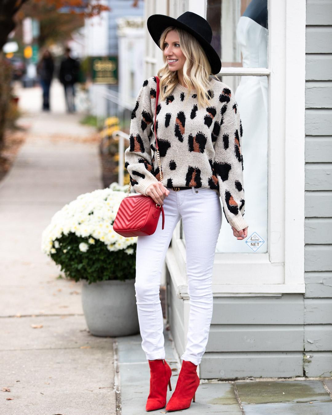 VICI Leopard Sweater & Red Accessories