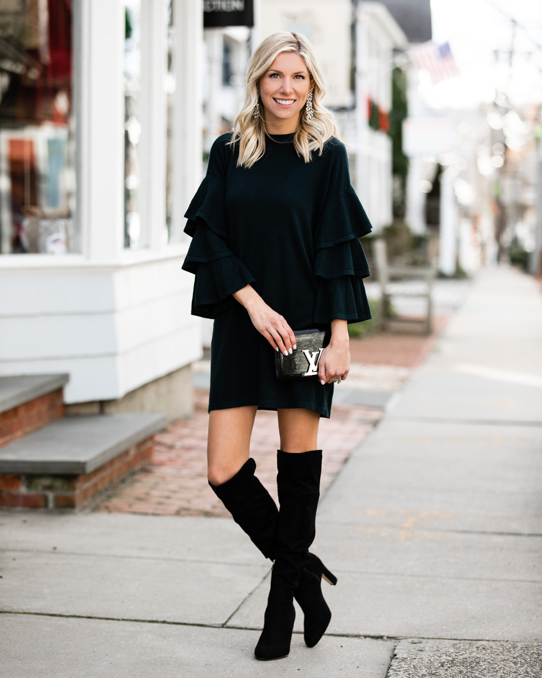 Ruffle Sleeve Sweater Dress