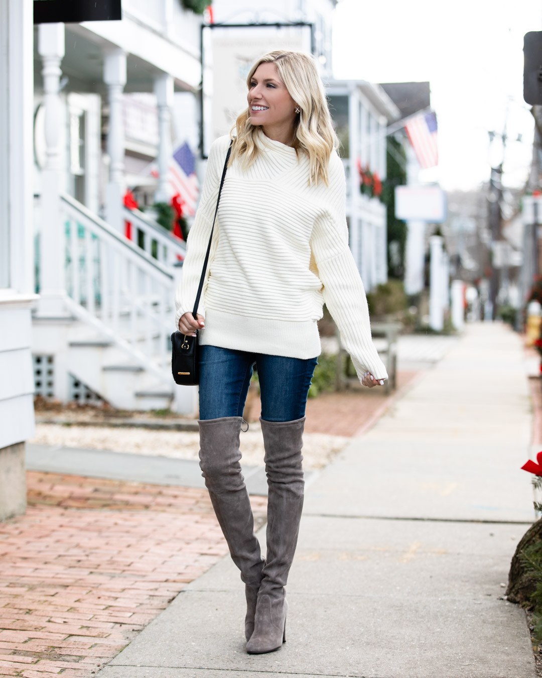 White Ribbed Mock Neck Sweater