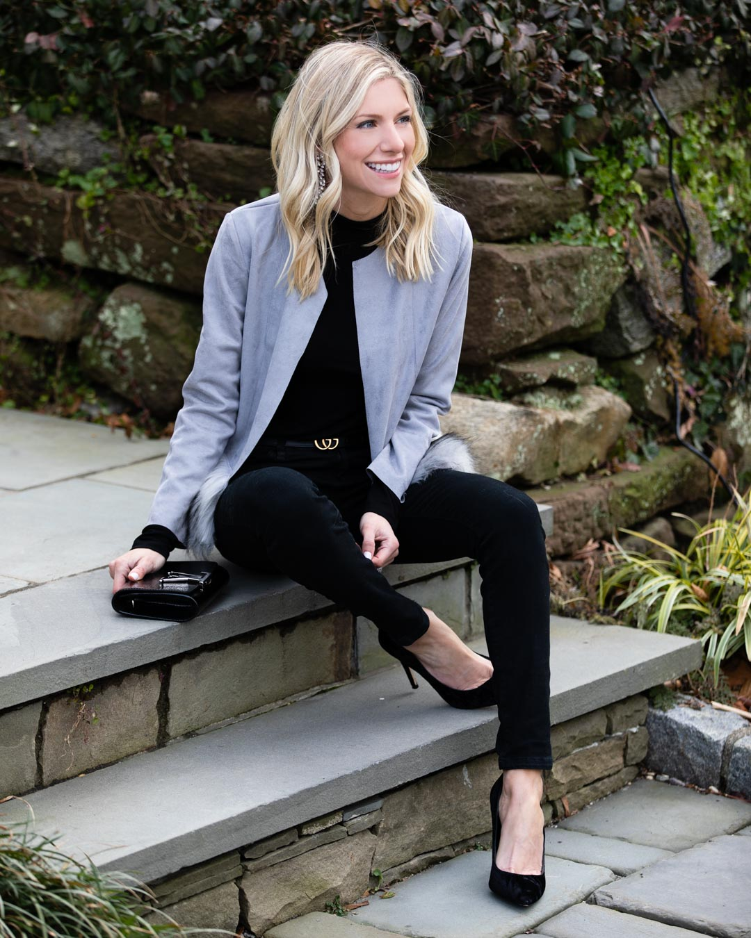 Feather Hem Gray Blazer