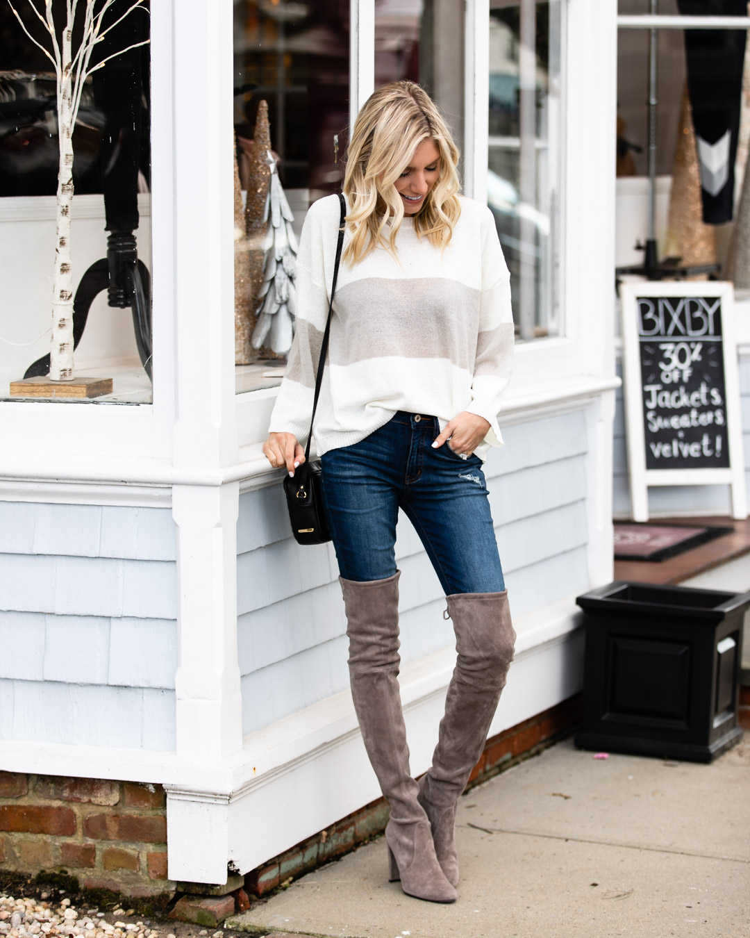 Gray and White Striped Sweater