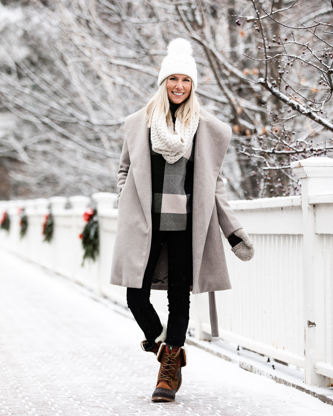 Gray Wool Coat & Plaid Cape