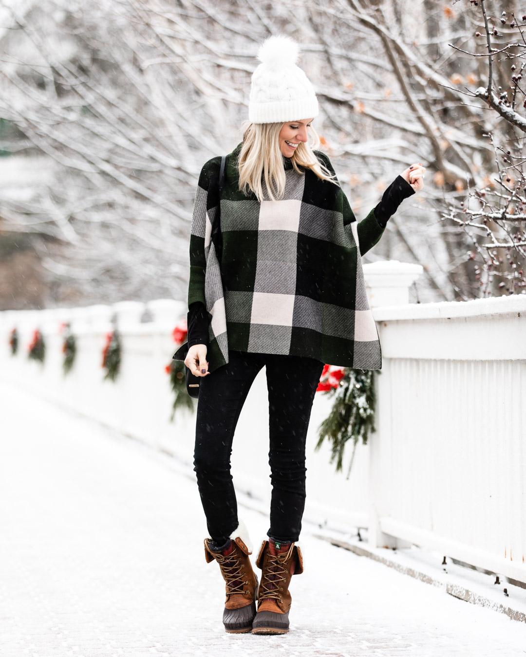 Gray Wool Coat & Plaid Cape