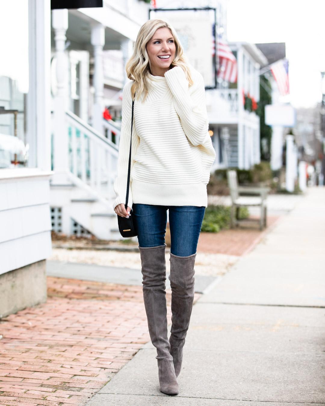White Ribbed Mock Neck Sweater
