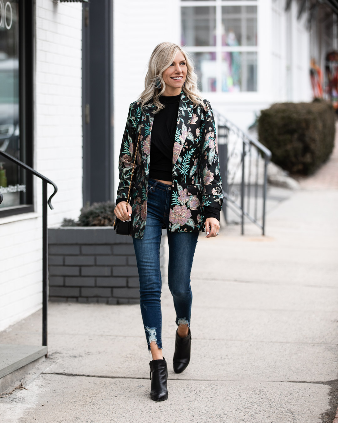 Embroidered Boyfriend Blazer