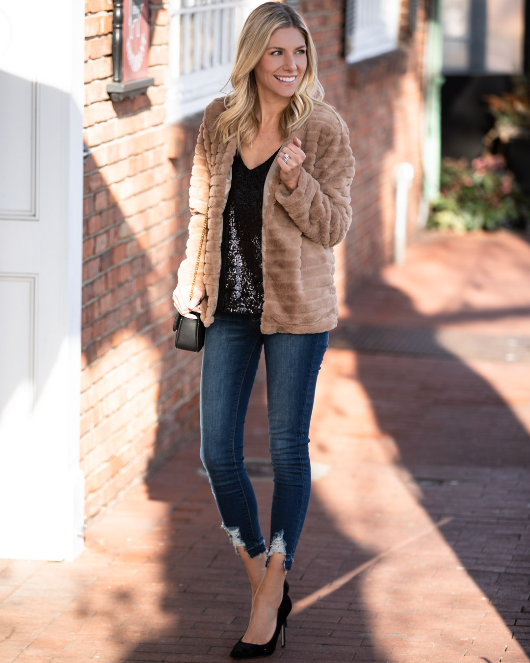 Sequin Tank and Faux Fur Jacket
