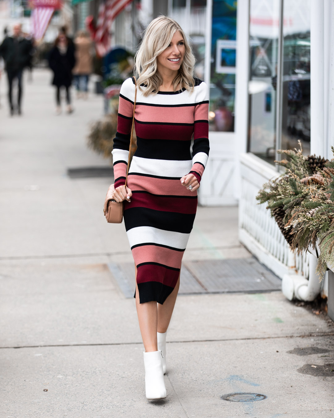 Striped Midi Sweater Dress
