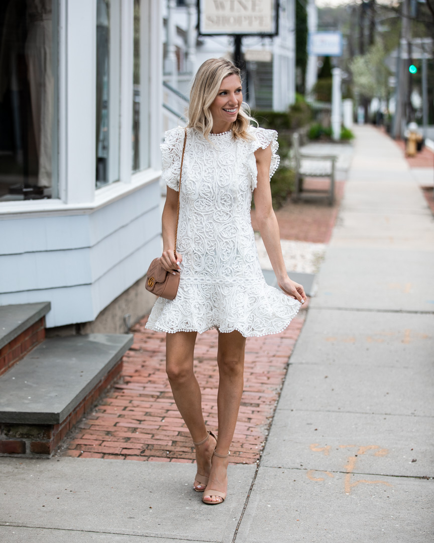 White Flutter Sleeve Lace Dress