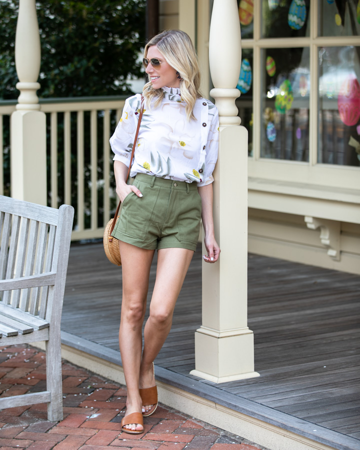 Floral Top and Green High-Waisted Shorts