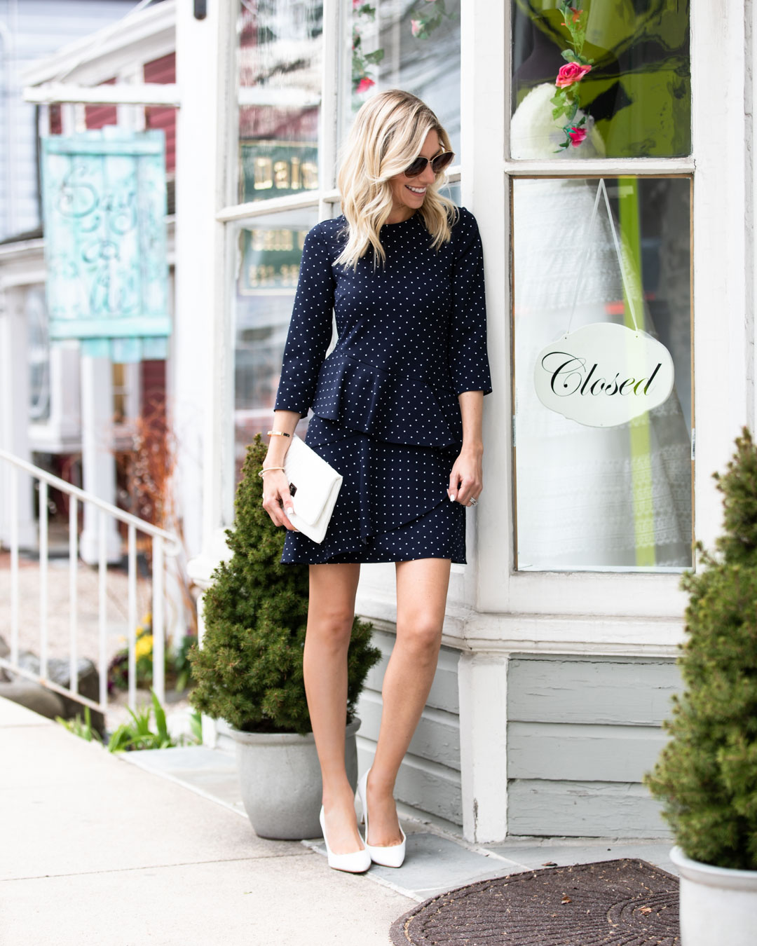 Navy Polka Dot Spring Dress